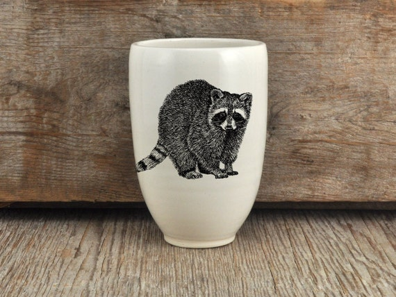 Handmade porcelain beer tumbler with raccoon drawing Canadian Wildlife collection
