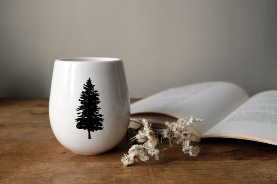 Handmade Porcelain wine tumbler with pine tree photograph by Cindy Labrecque