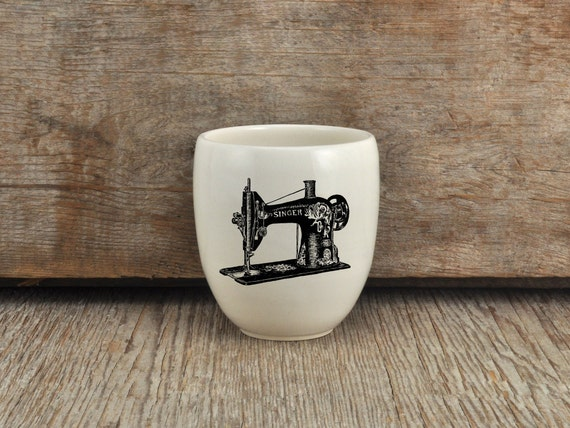 Porcelain coffee mug with vintage sewing machine drawing by Cindy Labrecque