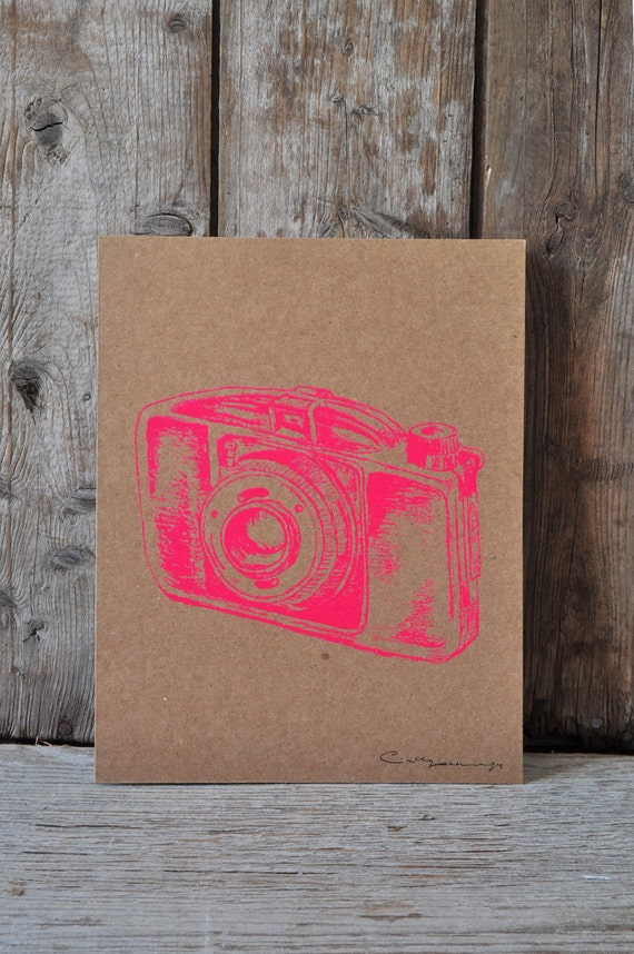 Camera #28, hand pulled silkscreen print, Boyer camera, 8 x 10 inches, open edition.