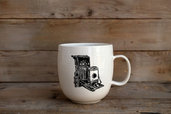 Porcelain coffee mug with vintage camera drawing by Cindy Labrecque