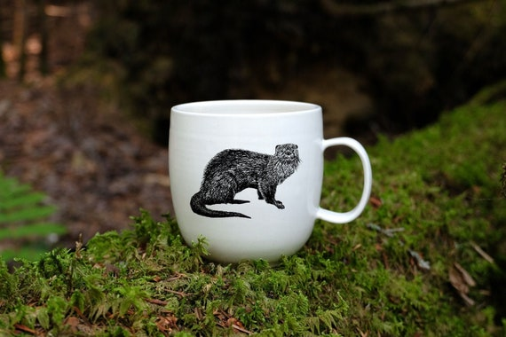 Handmade Porcelain coffee mug with River Otter drawing Canadian Wildlife collection