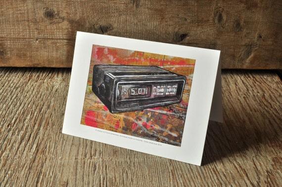 Vintage clock radio blank greeting card