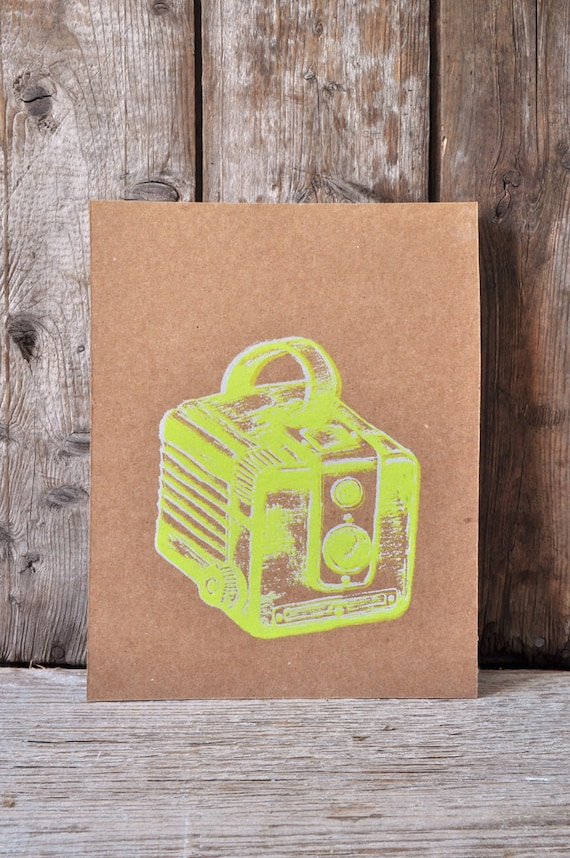 Camera #36, hand pulled silkscreen print, Kodak Brownie, 8 x 10 inches, open edition.