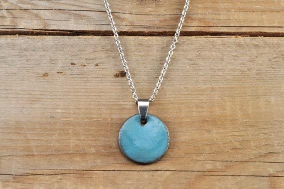 MEDIUM glossy turquoise round stoneware pendant