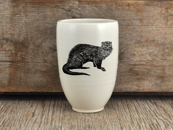 Handmade porcelain beer tumbler with river otter drawing Canadian Wildlife collection