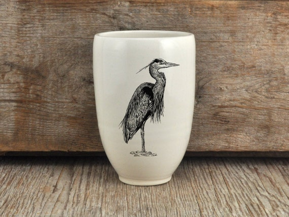 Handmade Porcelain beer tumbler with great blue heron drawing by Cindy Labrecque,  Canadian Wildlife collection