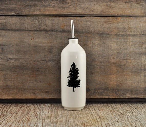 Handmade white glossy porcelain cruet with pine tree photograph by Cindy Labrecque, Canadian Wildlife collection