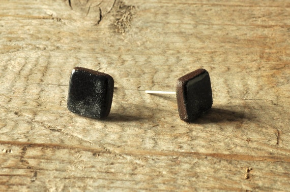 MINI glossy black square stoneware stud earrings