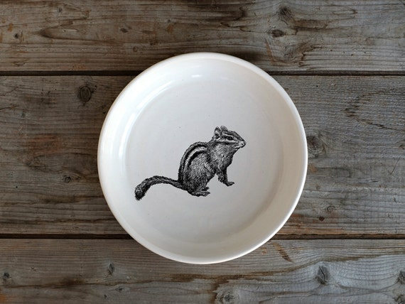 Handmade Porcelain shallow bowl/pasta bowl with chipmunk drawing by Cindy Labrecque, Canadian Wildlife collection
