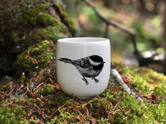 Handmade Porcelain coffee tumbler with black-capped chickadee drawing Canadian Wildlife collection