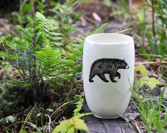 MADE TO ORDER - Porcelain beer tumbler with wild animals drawing Canadian Wildlife collection