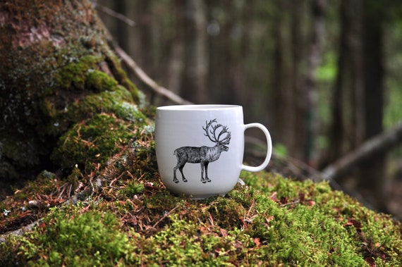 CUSTOM MADE porcelain coffee mug with wild animal drawing Canadian Wildlife collection