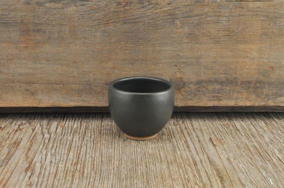 Black satine glaze stoneware espresso / tea cup