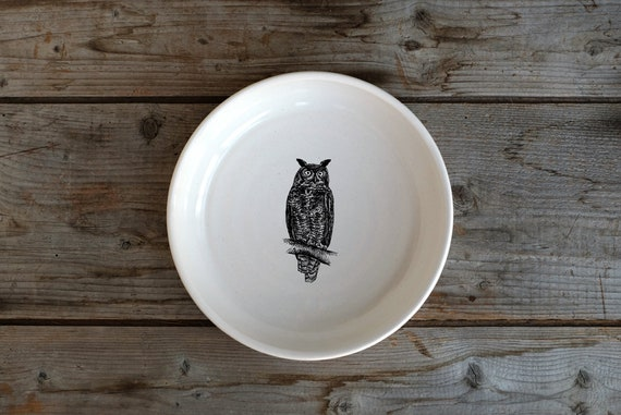 Handmade Porcelain shallow bowl/pasta bowl with Great Horned Owl drawing by Cindy Labrecque, Canadian Wildlife collection