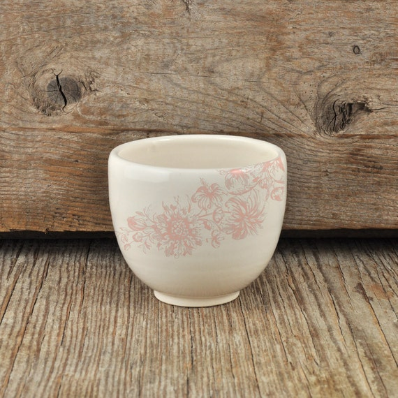 Porcelain espresso / tea cup with vintage pink flower illustration