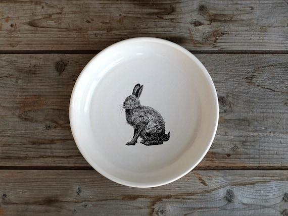 Handmade Porcelain shallow bowl/pasta bowl with hare drawing by Cindy Labrecque, Canadian Wildlife collection