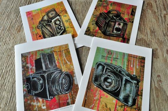 4 blank vintage camera paintings greeting card pack