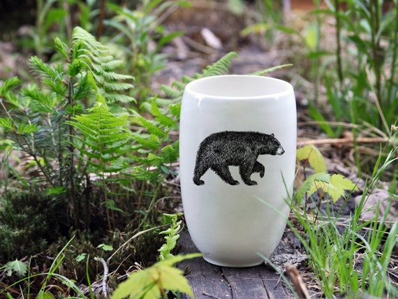 Handmade porcelain beer tumbler with American black bear drawing by Cindy Labrecque, Canadian Wildlife collection