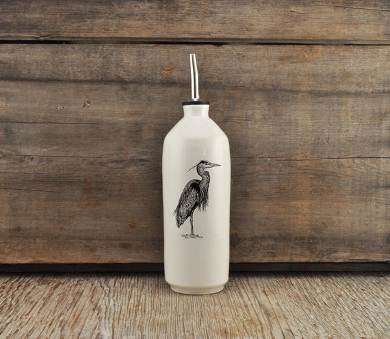 Handmade white glossy porcelain cruet with Great Blue Heron drawing by Cindy Labrecque, Canadian Wildlife collection