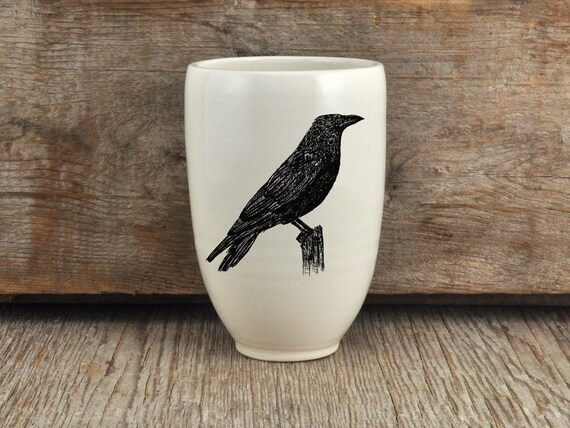 Handmade Porcelain beer tumbler with American crow drawing Canadian Wildlife collection