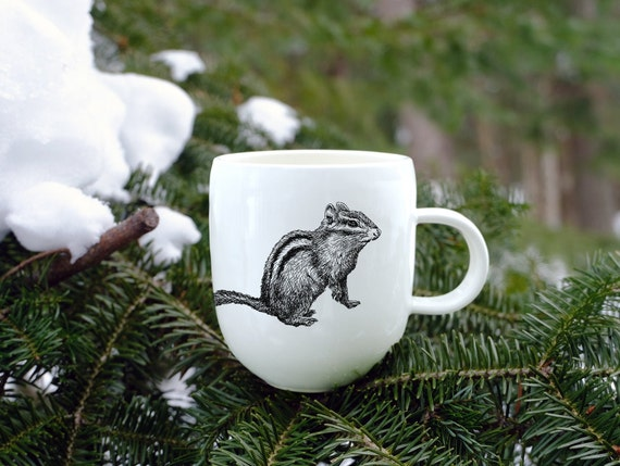 Handmade Porcelain coffee mug with chipmunk drawing Canadian Wildlife collection