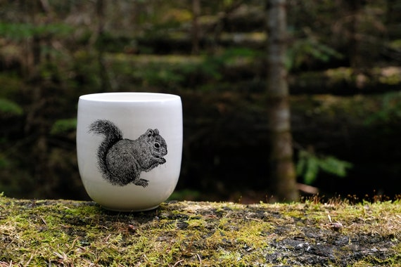 Handmade Porcelain coffee tumbler with Red Squirrel drawing Canadian Wildlife collection
