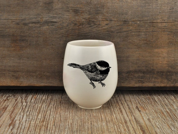 Handmade Porcelain wine tumbler with black-capped chickadee drawing Canadian Wildlife collection