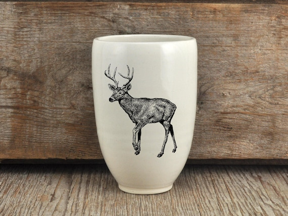 Handmade Porcelain beer tumbler with white-tailed drawing Canadian Wildlife collection