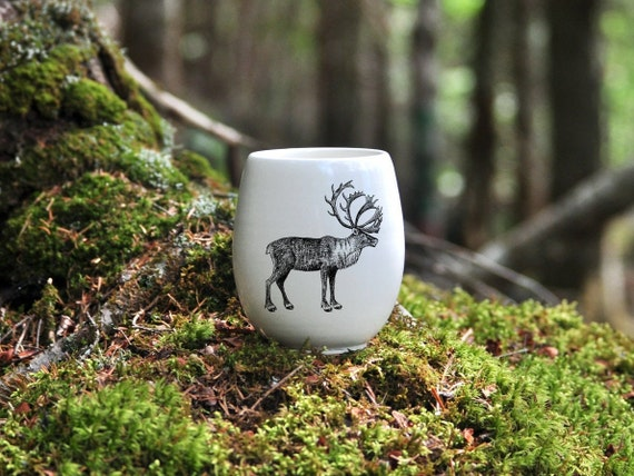 Handmade Porcelain wine tumbler with woodland caribou drawing Canadian Wildlife collection