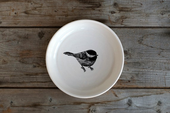 Handmade Porcelain shallow bowl/pasta bowl with black-capped chickadee drawing by Cindy Labrecque, Canadian Wildlife collection