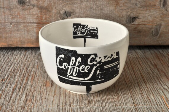 Porcelain soup bowl with vintage COFFEE SHOP sign