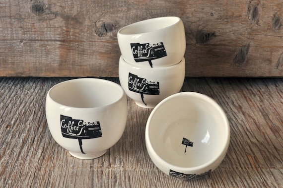 4 Porcelain espresso / tea cup set with vintage COFFEE SHOP sign