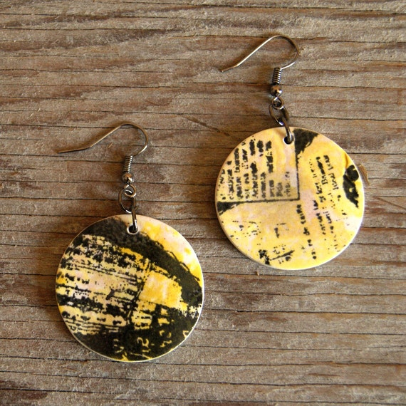 LARGE round vintage abstract print semi porcelain drop earrings