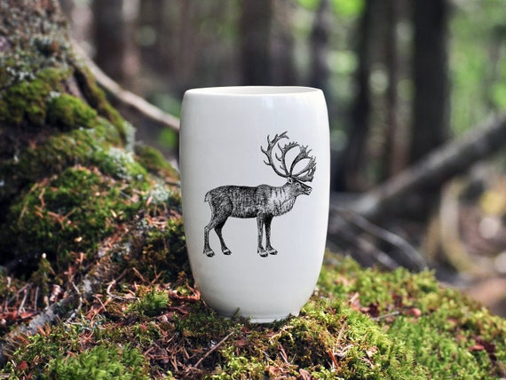 Handmade Porcelain beer tumbler with Woodland Caribou drawing Canadian Wildlife collection
