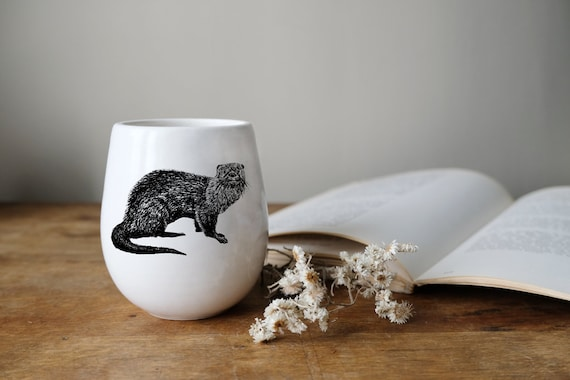 Handmade Porcelain wine tumbler with river otter drawing Canadian Wildlife collection