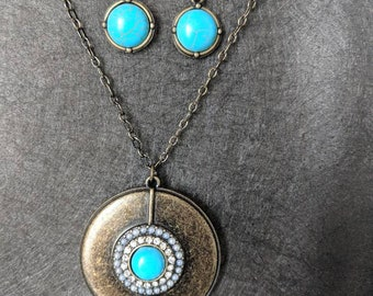 Turquoise and brass necklace and earrings