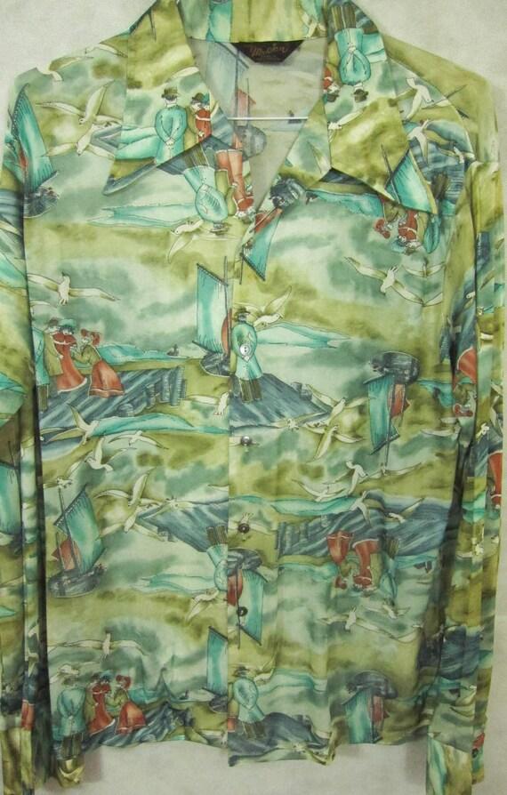 VINTAGE '70s Mr. Jan California Poly Disco Shirt S