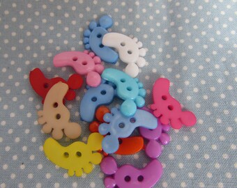 Colourful Feet Shaped Buttons