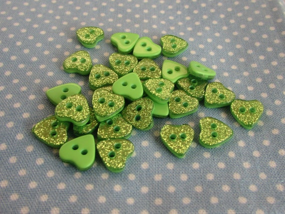 10mm Silver Glitter Heart Buttons in Assorted Pack Sizes 2 Hole Sew on Buttons