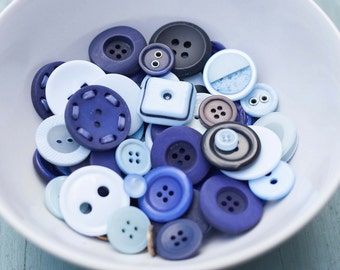 Assorted Sizes, Shapes and Shades of Blue Buttons
