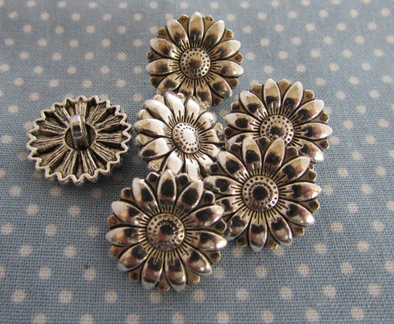 10 Silver Tibetan Filigree Flower Buttons in Zinc Metal Shank in Packs of 2 5
