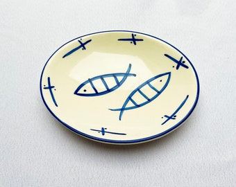 Hand-painted oval dish with fish design