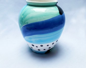 Vintage hand-painted '90s ceramic abstract vase