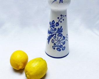 Vintage hand-painted blue and white vase