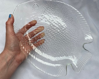Vintage 1970s French Arcoroc Glass Fish Plate