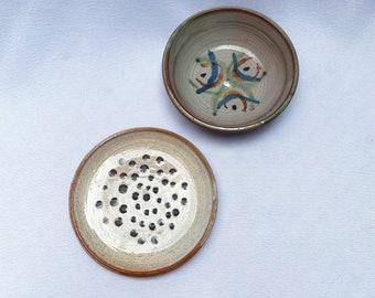 Studio pottery bowl and plate set