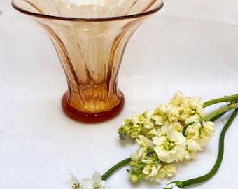 Vintage amber glass trumpet vase