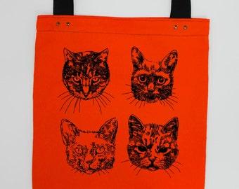 ce73291ef Gatos - pantalla de mano naranja impresa bolsa de grande de lienzo de  algodón