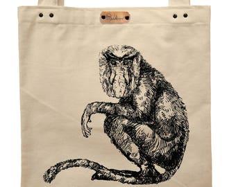 Proboscis monkey - hand printed cotton tote bag